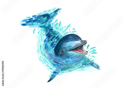 Fototapeta premium Delfin rozpryskuje się w wodzie. Akwarele. W wodzie bawi się zabawny delfin. Rozpryski lecą we wszystkich kierunkach. Modna ilustracja.
