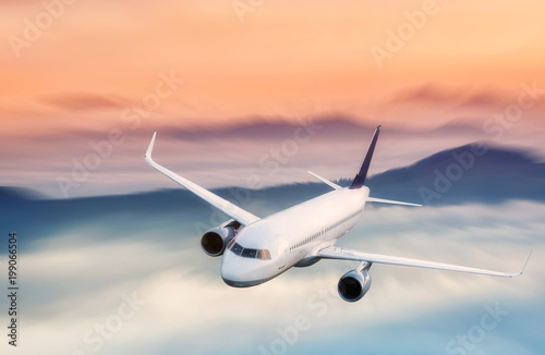 Poster Airplane Airplane on the landscape background. Concept and idea of transportation