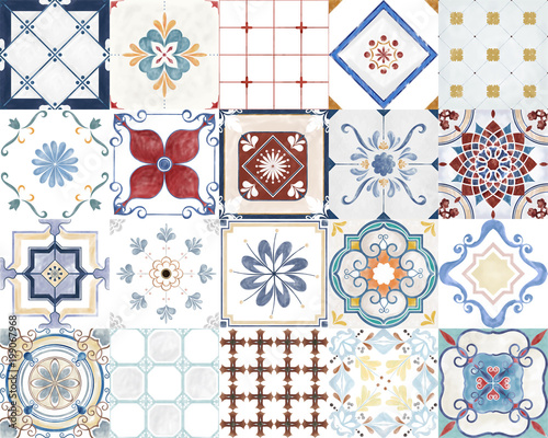 Poster Retro Illustration of a tiled pattern
