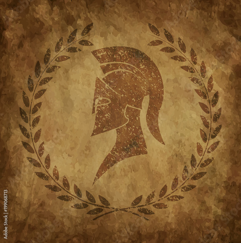 Naklejki Gladiator spartan-helmet-an-icon-on-old-paper-in-style-grunge-is-issued-in-antique-greek-style