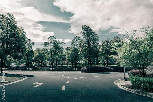 Spoed Foto op Canvas Stadion asphalt road and tree