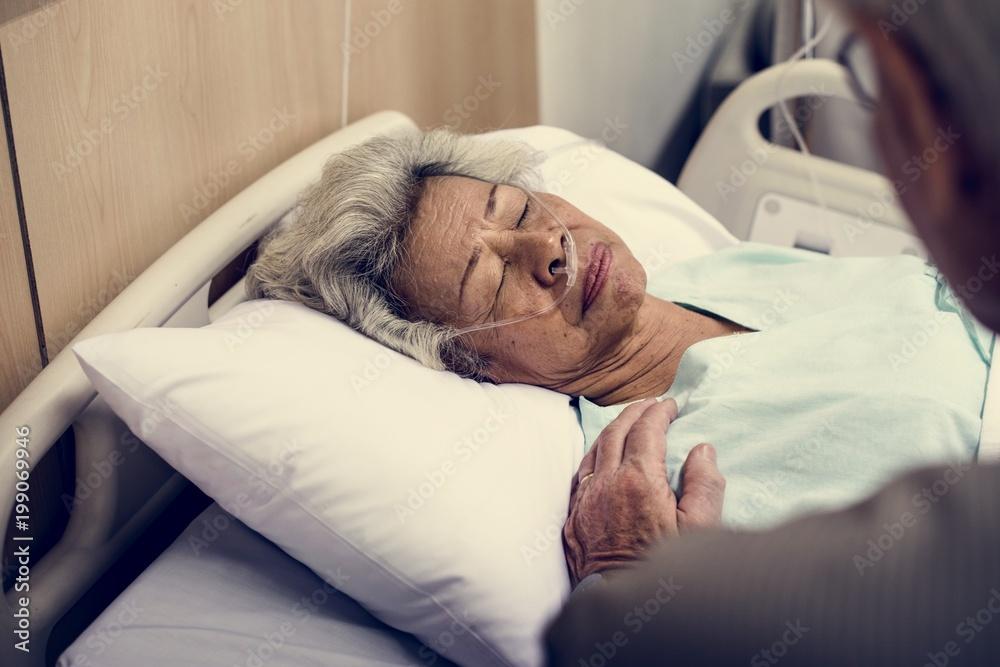 Fototapeta An elderly patient at the hospital