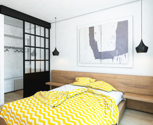 Bed And Wall Art In Modern Bed...