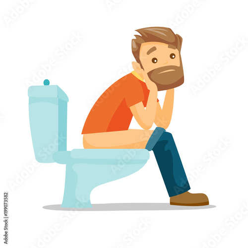 Caucasian White Man Sitting On The Toilet Bowl And Suffering From Constipation Young Hipster Man Suffering From Diarrhea Vector Cartoon Illustration Isolated On White Background Square Layout Buy This Stock Vector