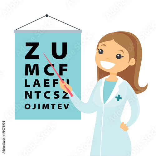 Slika na platnu Young caucasian white ophthalmologist doctor pointing at the eye test chart