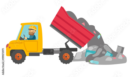 Caucasian White Man Driving A Garbage Truck And Unloading Waste On Rubbish Dump Worker