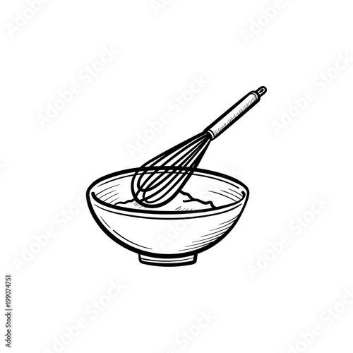Fotografie, Obraz  Mixing bowl with a wire whisk hand drawn outline doodle icon