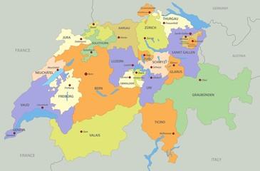 Fototapeta Map of Switzerland