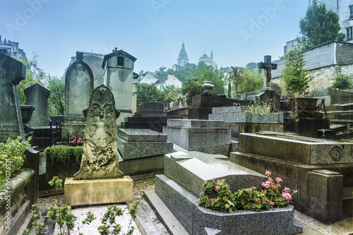 Tombstones at Montmartre Cemetery in Paris, France Poster