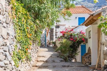 Fototapeta na wymiar Alleyway in the small town El Guro in the Valle Gran Rey on La Gomera