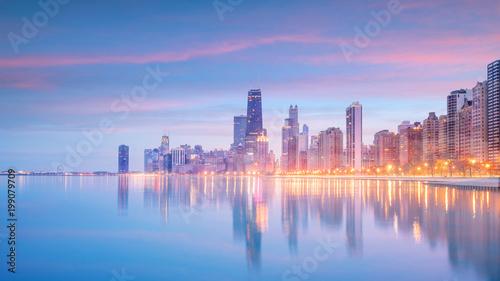 Obraz na płótnie W centrum chicago linia horyzontu przy zmierzchem Illinois