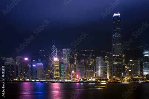 Stampa su Tela Hong Kong Harbor View at night