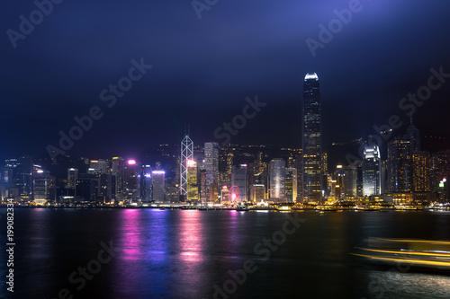 Stampe Hong Kong Harbor View at night