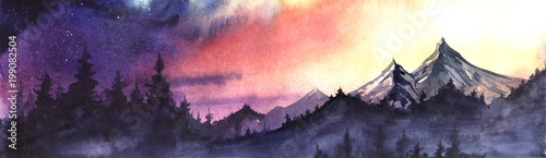 Fototapeta Panorama of mountain ranges and spruce forest against a background of the setting sun sky gradient from purple to red to yellow obraz