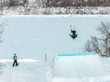 Skier Doing A Backflip Off A J...