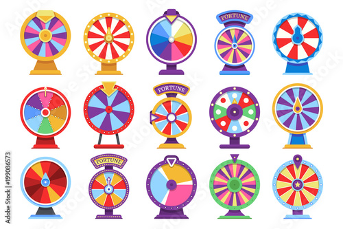 Carta da parati  Roulette fortune spinning wheels flat icons casino money games - bankrupt or luc