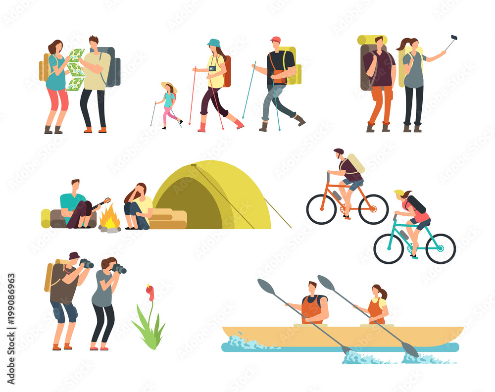 Fototapety, obrazy: Active people hikers. Cartoon travelling family outdoor. Hiking and trekking tourists vector characters isolated