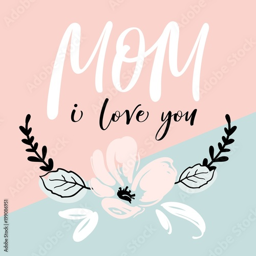 Canvas Print Mother's Day greeting card with modern brush calligraphy