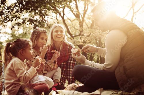 Plakat Szczęśliwa rodzina ma pinkin wpólnie w parku.