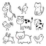 Fototapeta Fototapety na ścianę do pokoju dziecięcego - cute animals sketch vector set