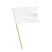 White Flag With A Wooden Stick. Clean Horizontal Waving Flag, Isolated On Background. Vector Flag Mockup.