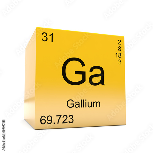 Gallium chemical element symbol from the periodic table displayed on gallium chemical element symbol from the periodic table displayed on glossy yellow cube urtaz Images