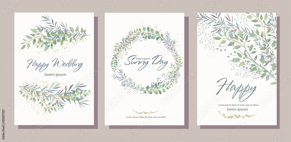 Fototapeta Set of card with beautiful twigs with leaves. Wedding ornament concept. Imitation of watercolor, isolated on white. 