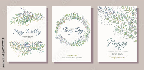 Obraz Set of card with beautiful twigs with leaves. Wedding ornament concept. Imitation of watercolor, isolated on white. 
