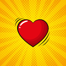 Colorful Pop Art Retro Heart, Comic Style.