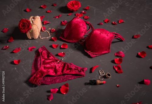 Obraz Sexy red women's lingerie - fototapety do salonu