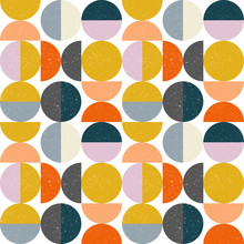 Modern Vector Abstract Seamless Geometric Pattern With Semi Circles And Circles In Retro Scandinavian Style