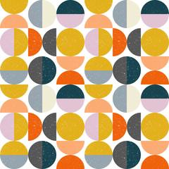 Nowożytny wektorowy abstrakcjonistyczny bezszwowy geometryczny wzór z semi okręgami i okręgami w retro scandinavian stylu