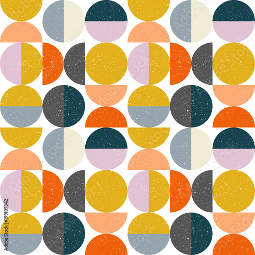 Modern vector abstract seamless geometric pattern with semi circles and circles Canvas Print