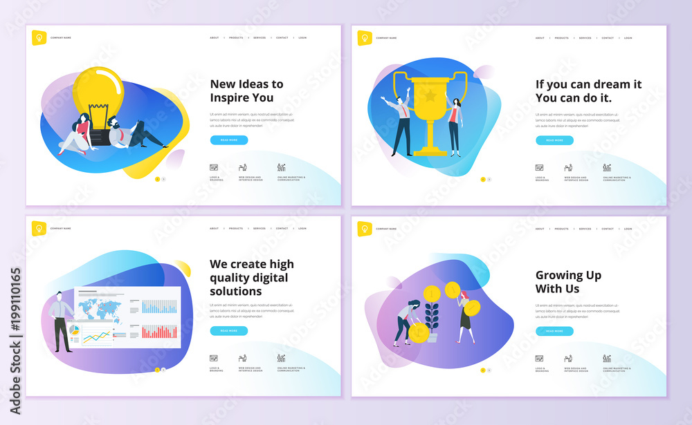 Fototapety, obrazy: Set of website template designs. Modern vector illustration concepts of web page design for website and mobile website development. Easy to edit and customize.