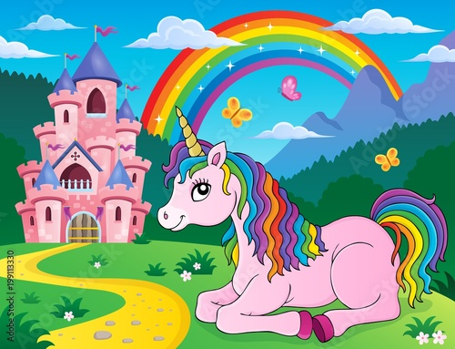For Kids Lying unicorn theme image 2