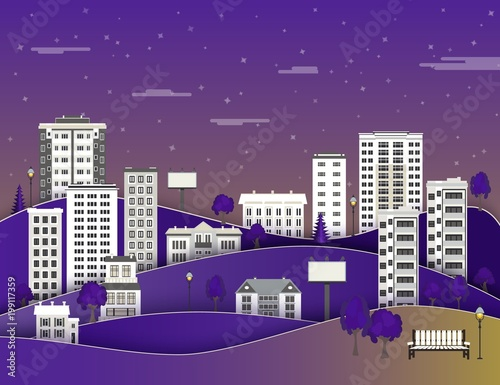 Foto op Plexiglas Violet City paper landscape in night with multistorey apartment houses and office buildings, public park on dark blue sky background with clouds - flat style colorful cityscape. Vector illustration.