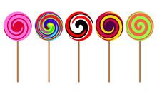 Five Multi-colored Lollipops On Wooden Sticks