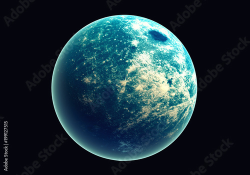 Blue earth in space and galaxy. Globe with outer glow ozone and white cloud. Space planet and Atmosphere concept. Alien and Living nature theme. Elements of this image furnished by NASA - 199127515