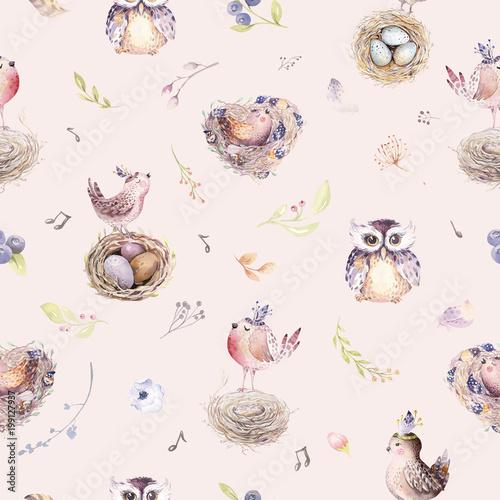 Materiał do szycia Akwarela wiosna rustykalny wzór z nest, ptaki, oddział, gałązki drzewa i pióro. Akwarela bezszwowe ręka tło ciągnione ptak. Vintage, boho ilustracja