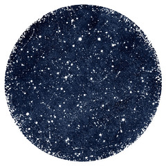 Naklejka Do sypialni Dark blue hand drawn watercolor night sky with stars. Circle shape. Monochrome watercolour cosmic, cosmos background, galaxy, universe. Splash texture. Rough, artistic edge. Aquarelle round template.