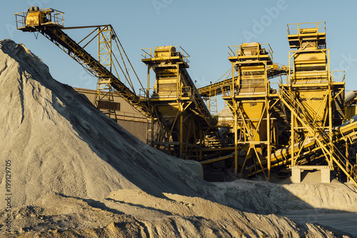 Machinery and equipment in quarry at sunset, Avila, Spain