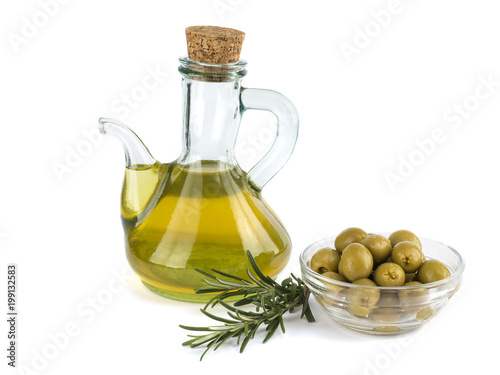 olive oil with olives isolated on white background.