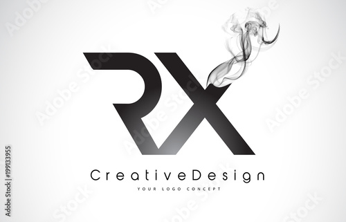 Photo  RX Letter Logo Design with Black Smoke.