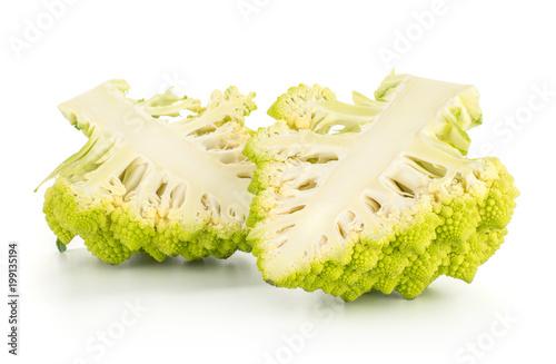 Fotografie, Obraz  Two green Romanesco cauliflower halves isolated on white background section