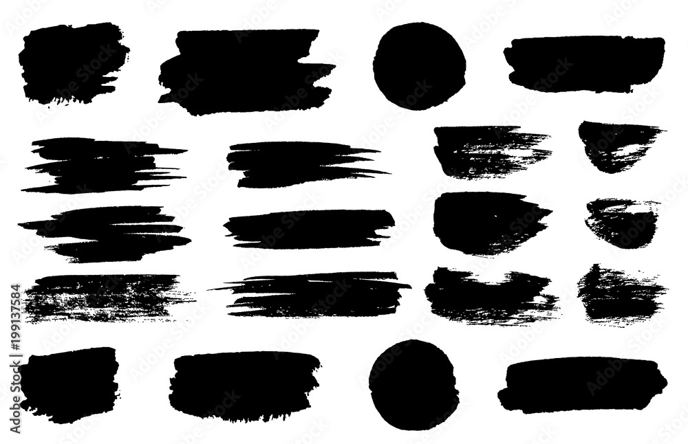 Fototapeta Vector black paint brush spots, highlighter lines or felt-tip pen marker horizontal blobs. Marker pen or brushstrokes and dashes. Ink smudge abstract shape stains and smear set with texture