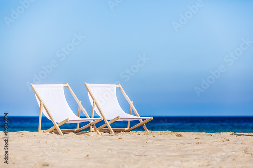 Deck chairs on beach Tapéta, Fotótapéta