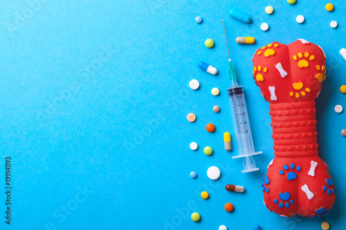 Photo  Toy rubber bone for dogs and many colored tabbies with a syringe on a blue background