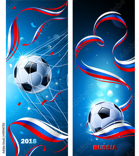 Fotografía  Banners Soccer Ball with Flag of Russia. Vector
