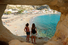 Matala Beach Vue Des Grottes C...