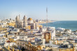 Cityscape by the Atlantic Ocean with famous Cathedral of Cadiz, Andalusia, Spain